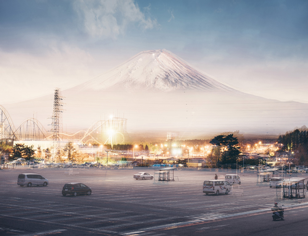 Mt. Fuji multiple exposure. 4 shots of one day from the same vantage point, sunrise, midday, sunset and midnight.