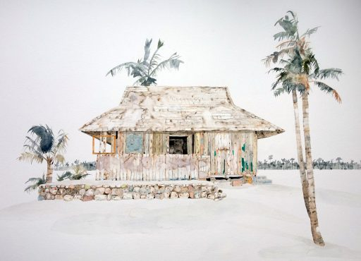 faded watercolour painting of a beach shack surrounded by palm trees on a white sandy beach