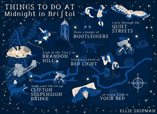 Things to do at midnight in bristol...boogie at bootleggers, cycle, stargaze from brandon hill, cocktails at red light, walk across clifton suspension bridge or enjoy your bed