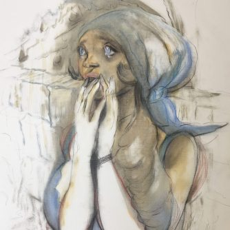 faded watercolour sketch of a female character covering her mouth with tears in her eyes