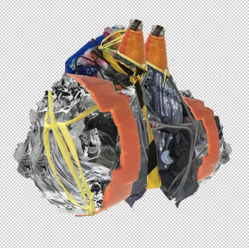 digital sculpture of scavenged rubbish