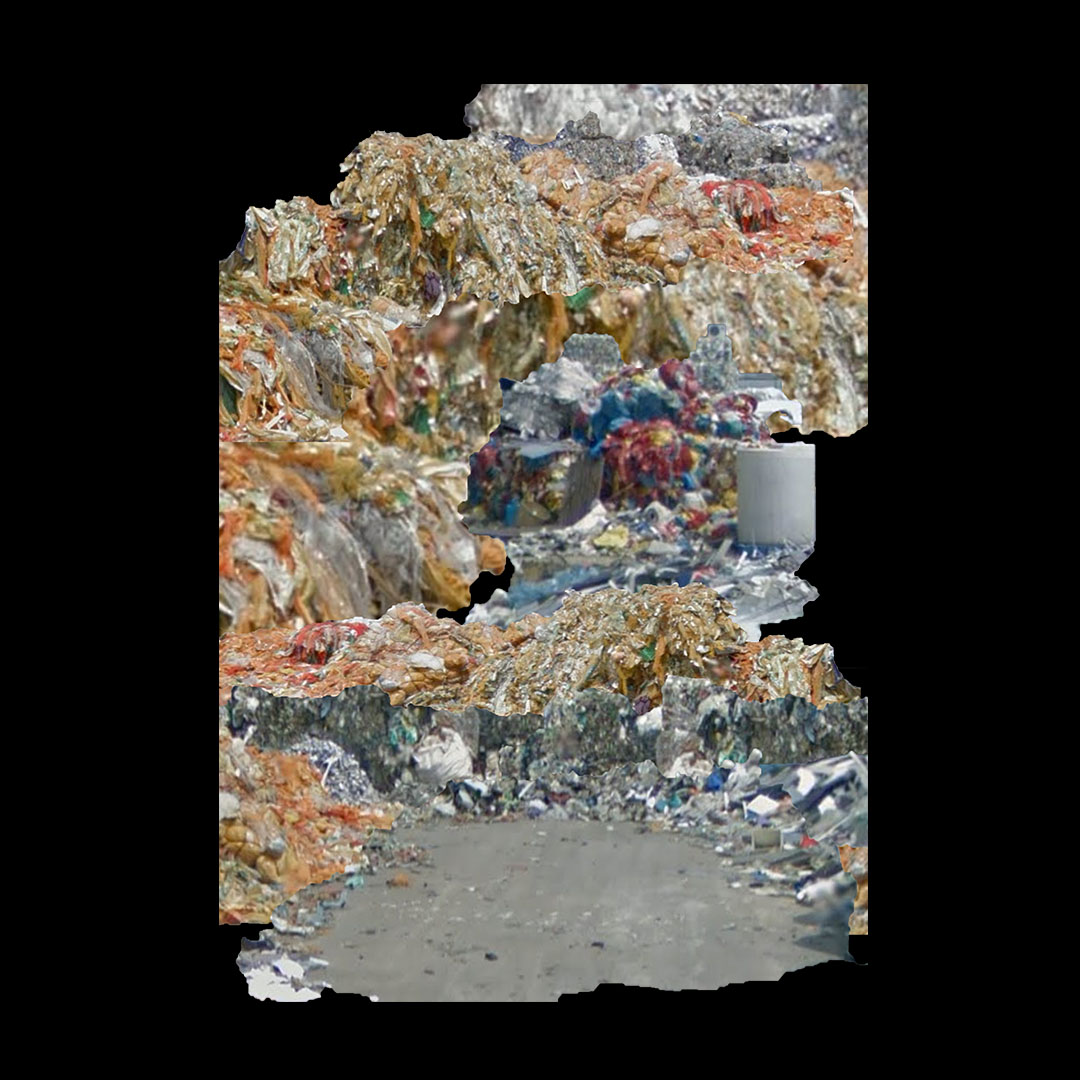 digital collage of scavenged rubbish