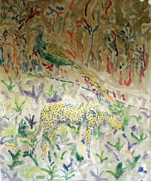 painting of cheetah and peacock with patterned background