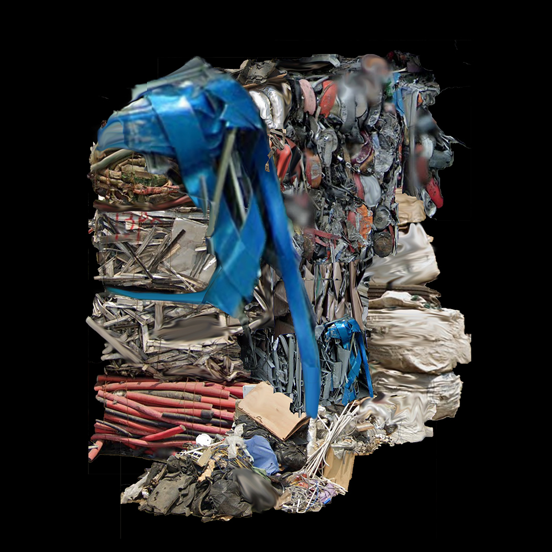 sculpture made of scavenged rubbish