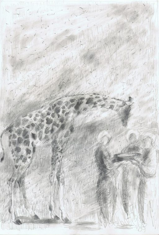 pencil drawing of giraffe and two people standing near it