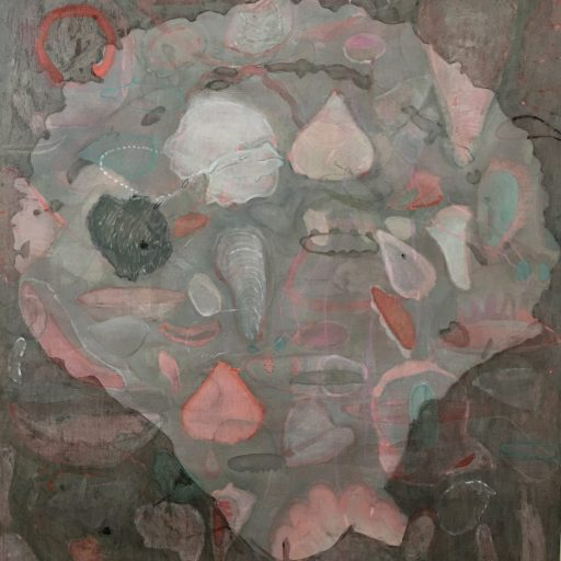 oil painting of shell shape with varying pink and green tones