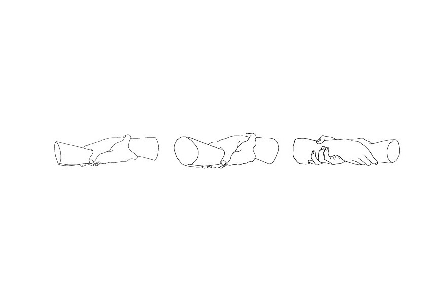 line drawings of hands holding hands