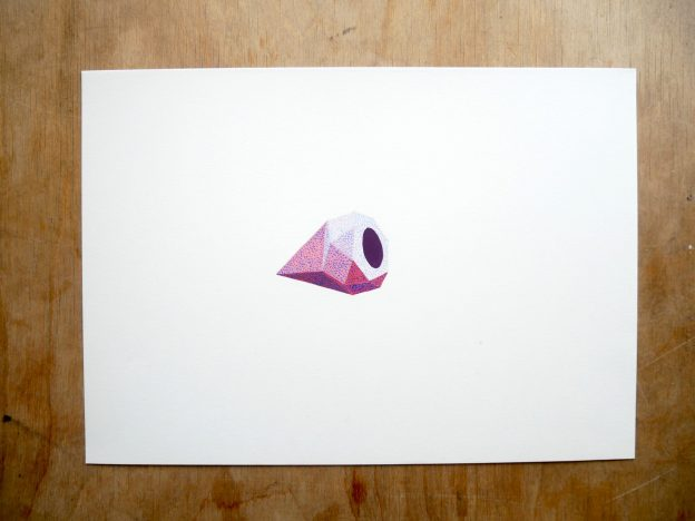 gouache painting of pink diamond with blue dots