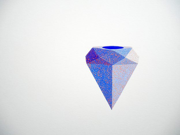 gouache painting of blue diamond with pink dots