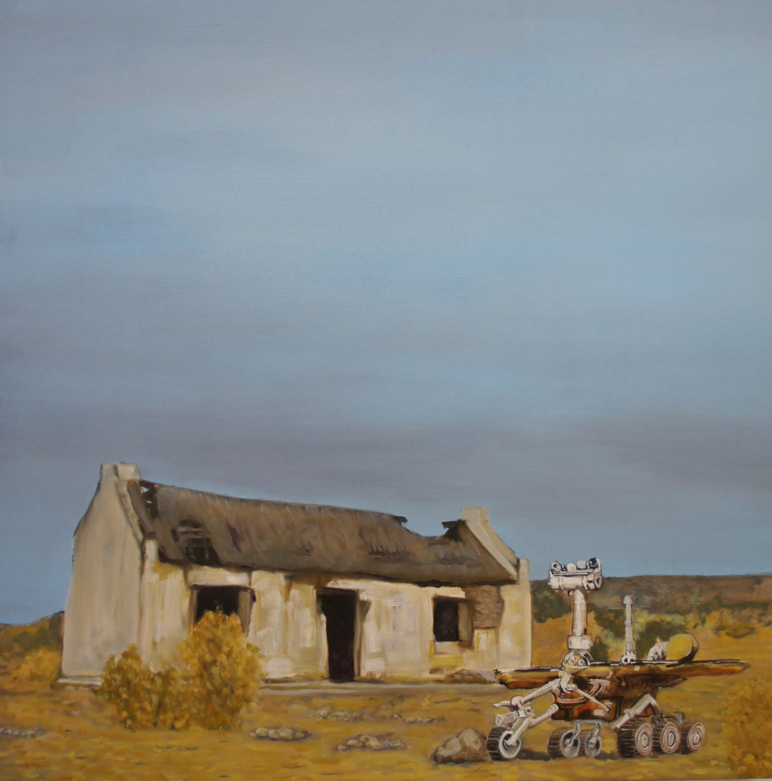 a painting of a lone barn with hole in roof in and a robot on wheels in the foreground