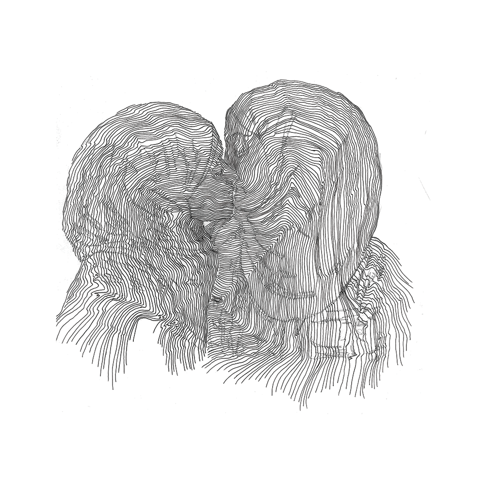 line drawing resembling one person whispering to another