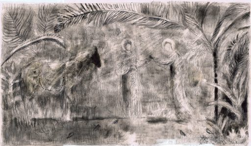 pencil sketch of two figures and a donkey with palm trees in the background