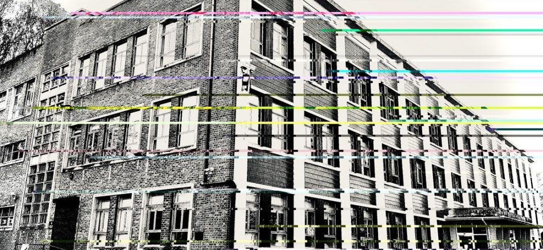 A black and white photography of St Annes House Bristol, with coloured lines across it that look like a digital error