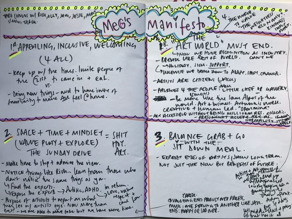 Two-page spread of handwritten notes in notepad.