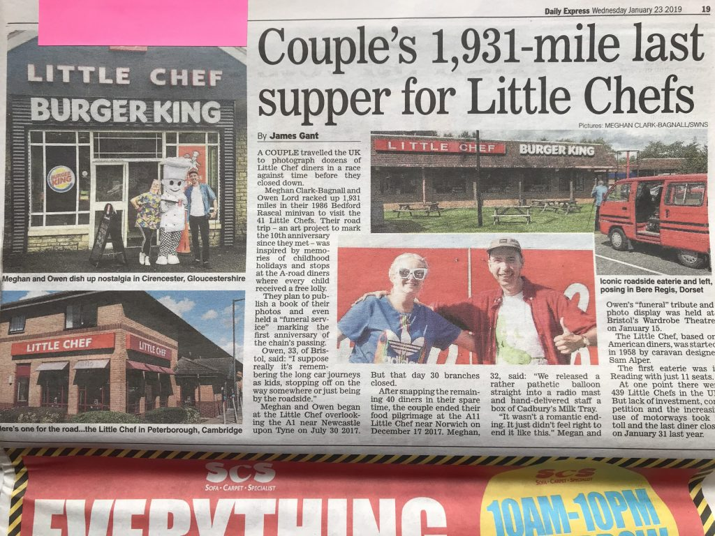 Daily Express newspaper article showing picture of man and woman outside Little Chef with title Couple's 1,931-mile last supper for Little Chefs