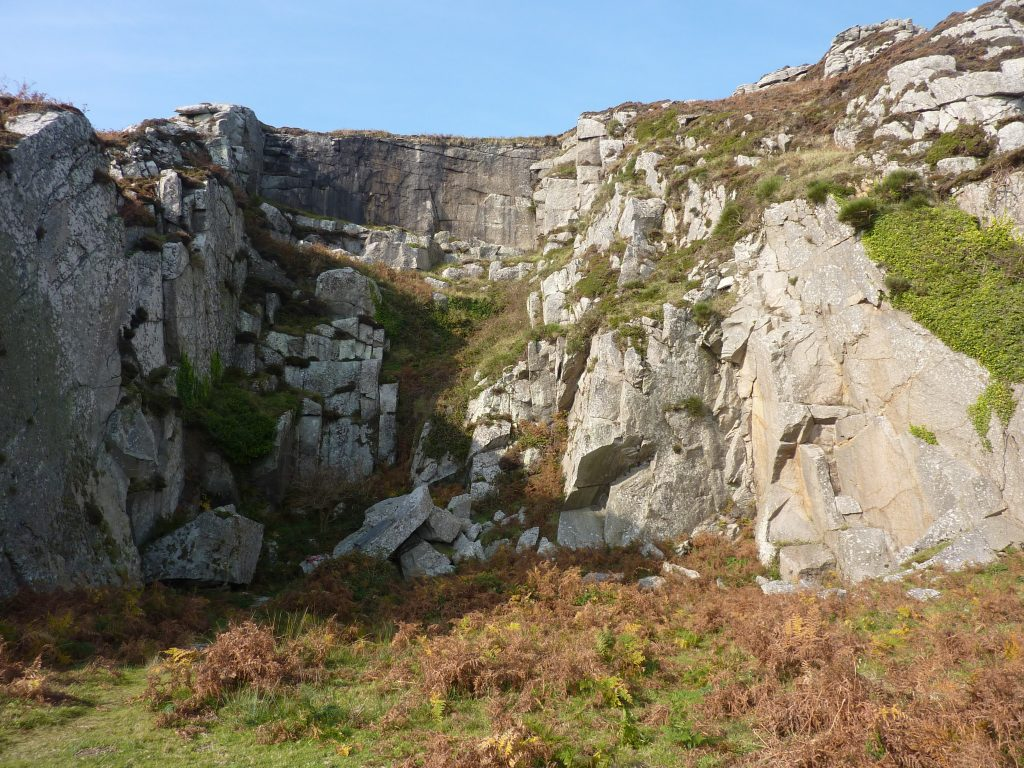 Picture of a granite quarry half in shadow surrounded by grass and plants