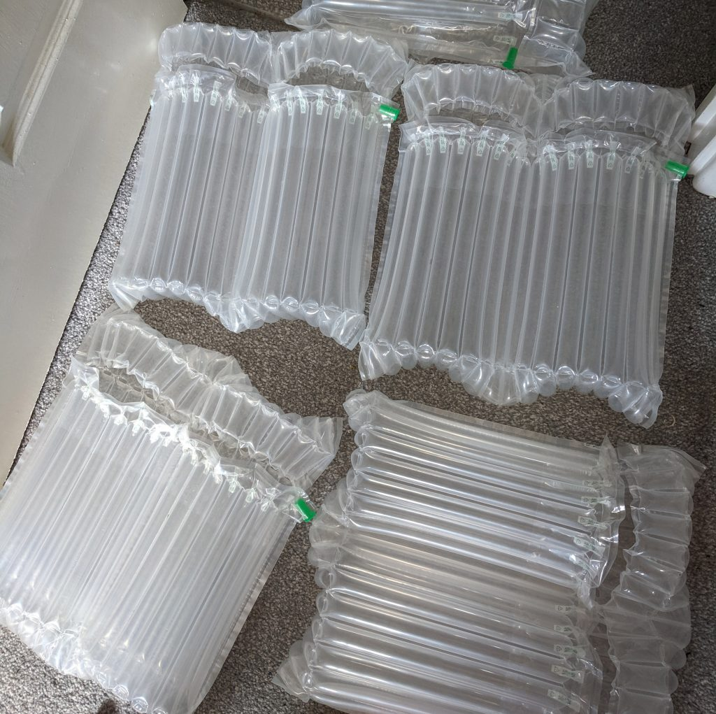 Inflated packages to weave with