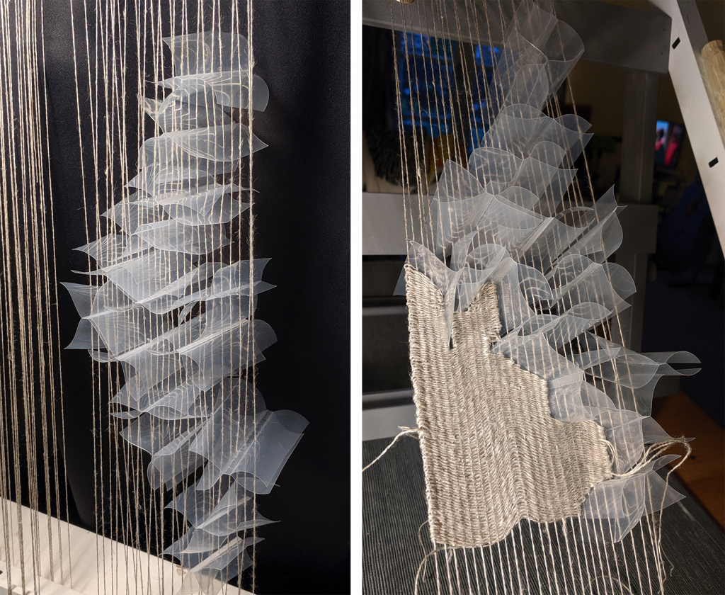 Work in progress of adding plastic packaging into the warp of the weave