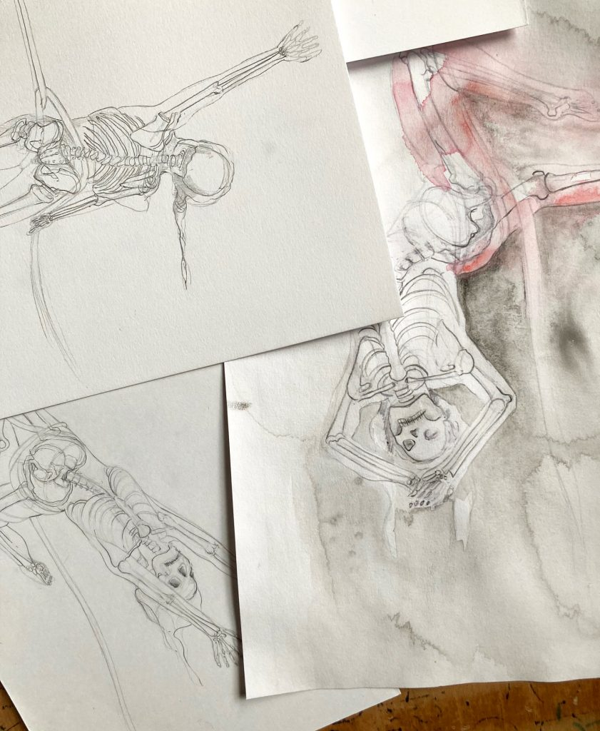 Initial pencil sketches, the skeleton in different positions