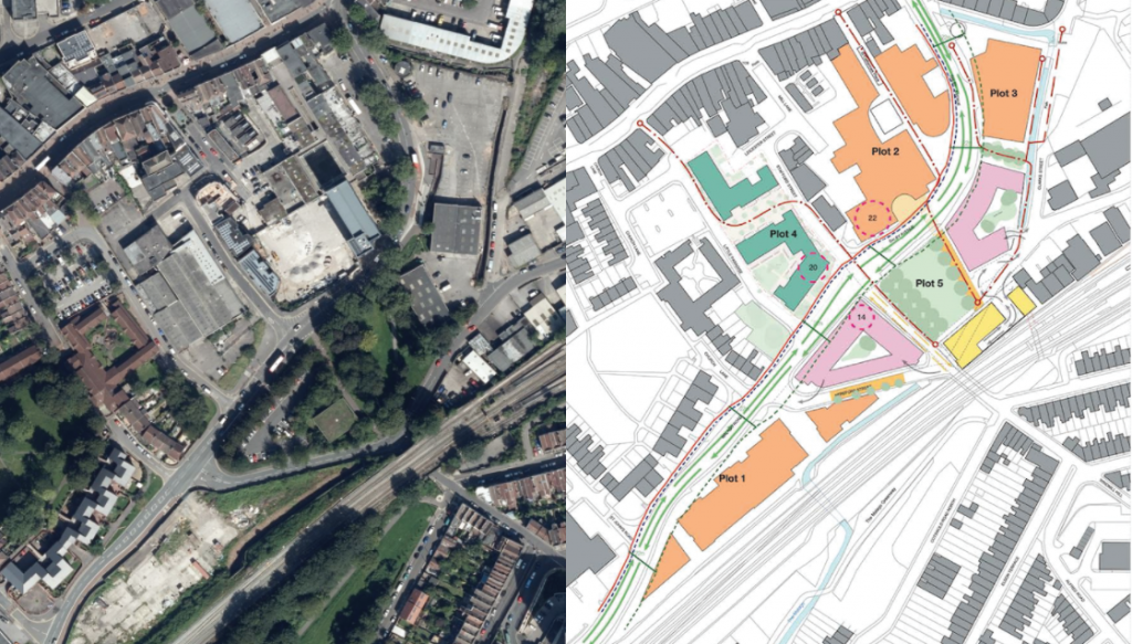Aerial image of the area currently, and projected map of the Bedminster Green Development