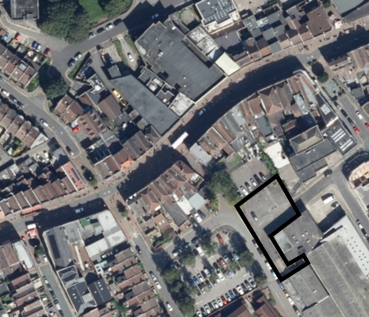 Aerial photo of East Street with the location of the wasteland marked