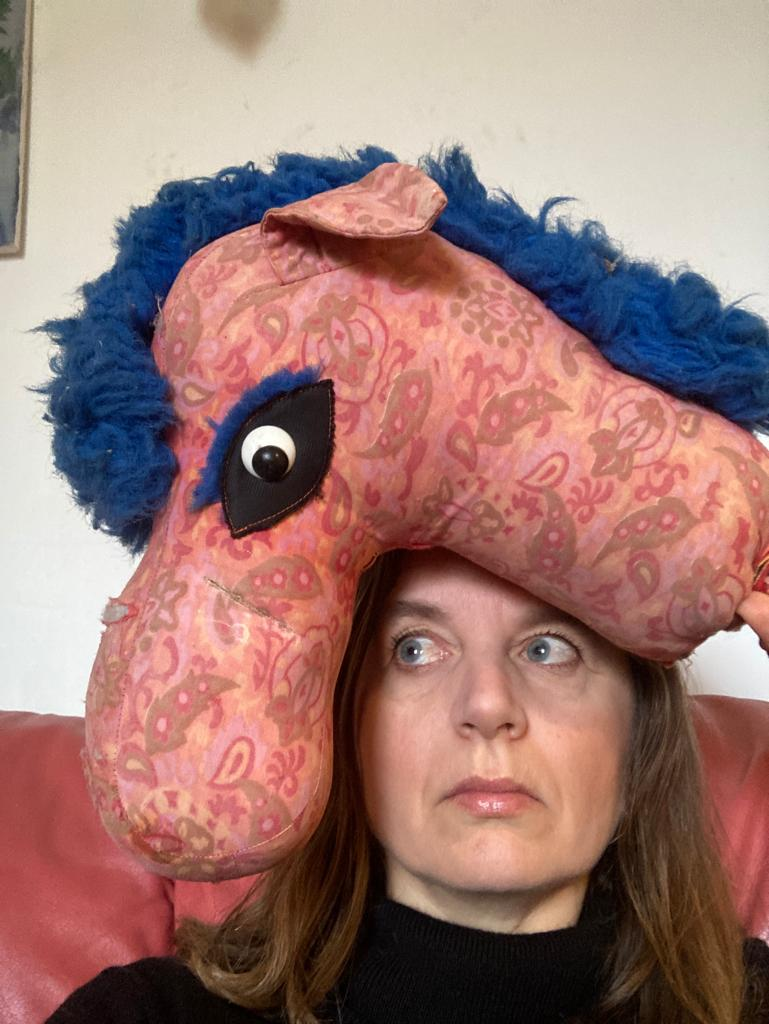 Woman with pink and blue hobby horse on her head