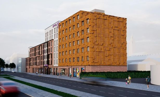Moxy Bristol hotel show in the day, illustrated 3d image view from north east, seven stories, with red brick and light render and pink moxy sign