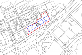 Moxy Bristol site plan showing hotel area outlined in blue and site owned by Vastint outlined in red