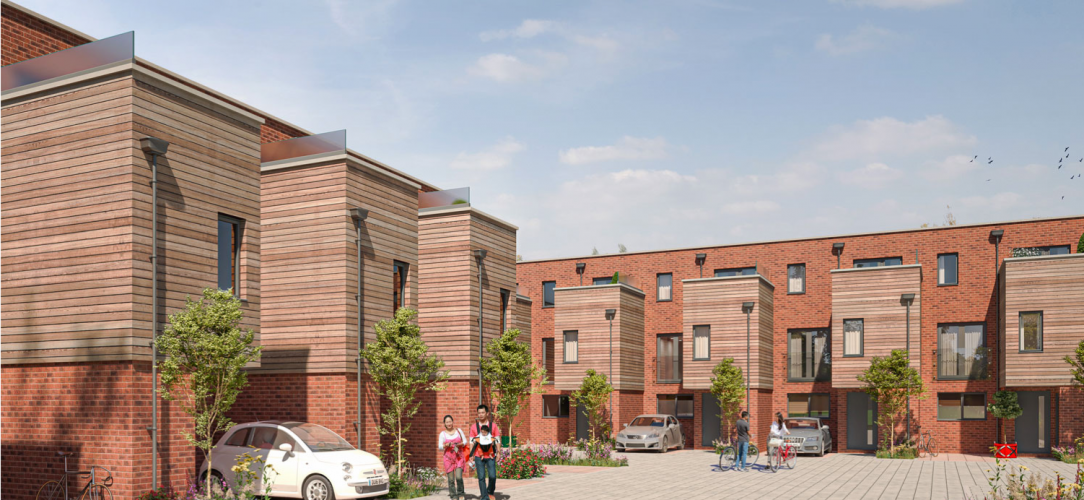 St Gabriel's Court Easton Bristol, Architect 3d mock up image showing finished red brick and cedar finished 3 storey terraced houses