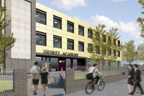 Trinity Academy Lockleaze, 3 artist impression of front entrance with pupils coming and going