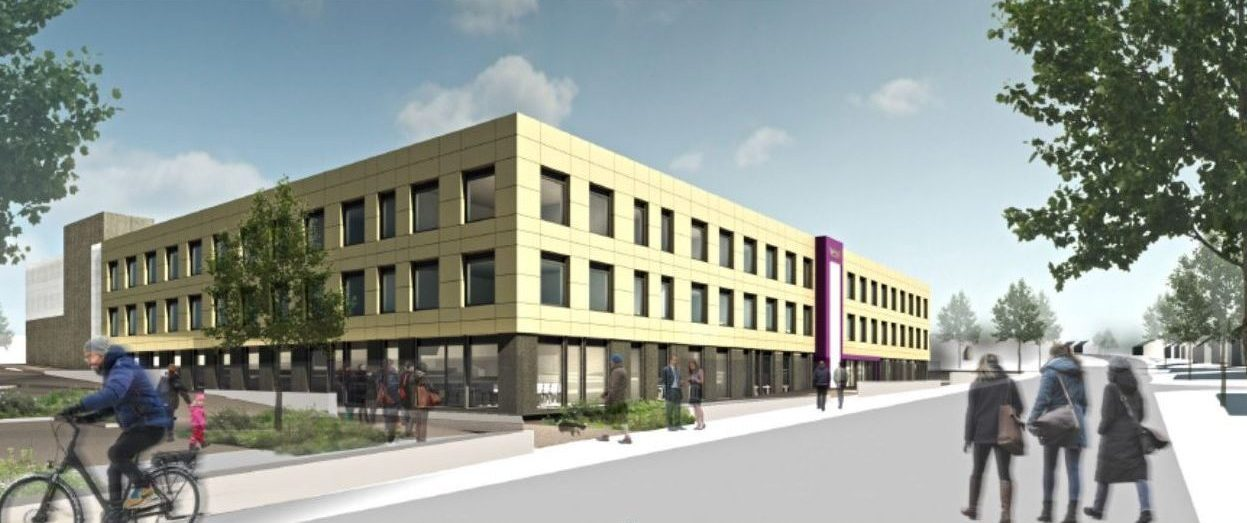Trinity Academy Lockleaze, external 3d artist impression showing outside front corner view