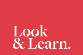 Look and Learn logo design by Dom Garnham - The Os of the word Look look like eyes. White on Red