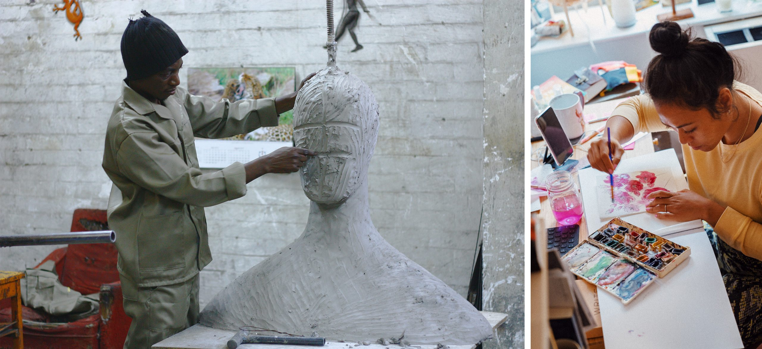 Image of man sculpting a head and a woman using water colour paints