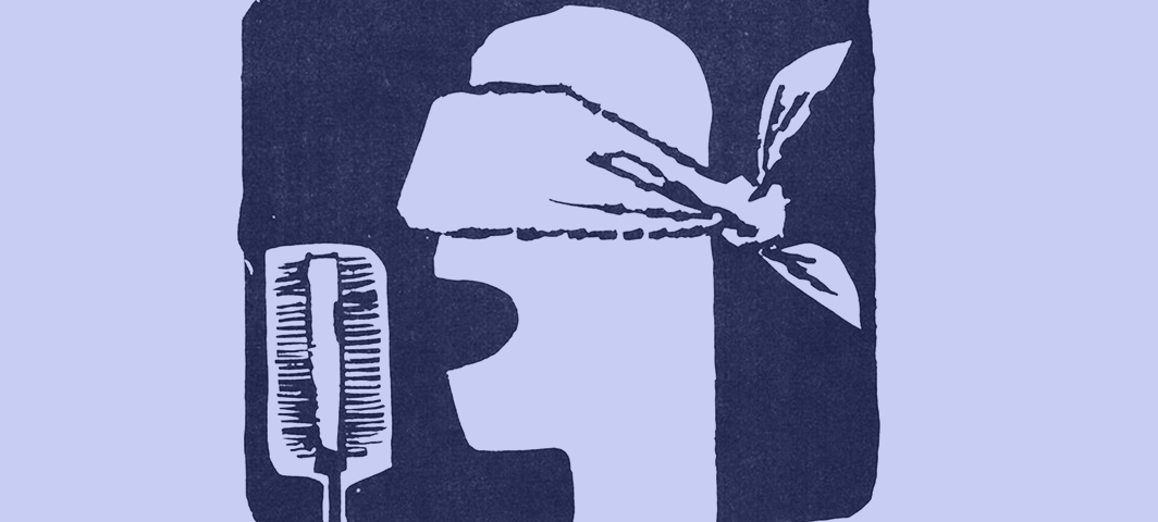 A graphic of a face speaking into a microphone with a scarf tied over the eyes. Text reads 'information libre'